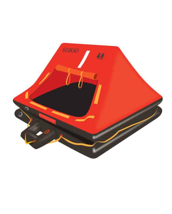 Sea Master liferaft with inflatable boarding step